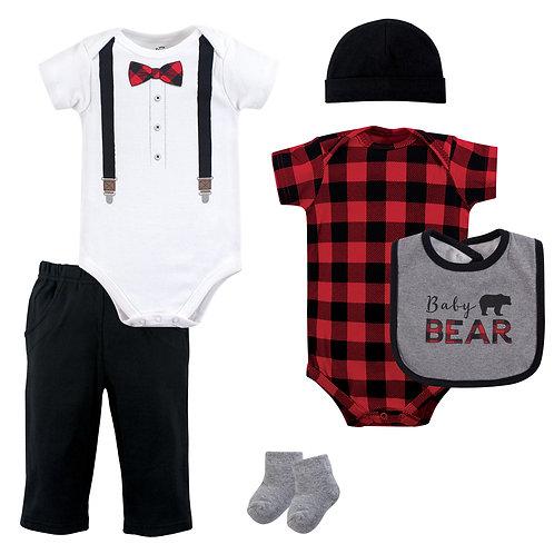 Little Treasure Baby Bear Lumberjack Bow Tie 6 Piece Set