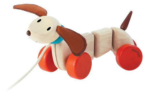 Push and Pull toy for babies, puppy on a string, Plan Toys Happy Puppy