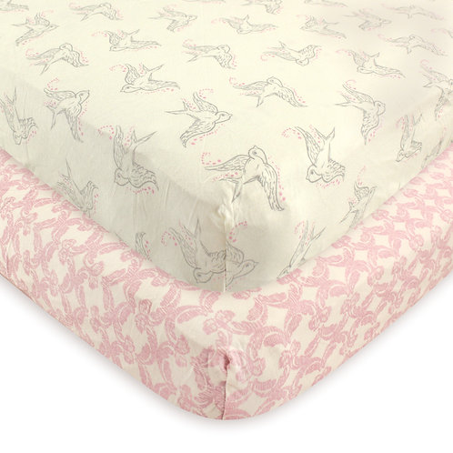 Touched by Nature Organic Bird Crib Sheet 2 Pack Fitted