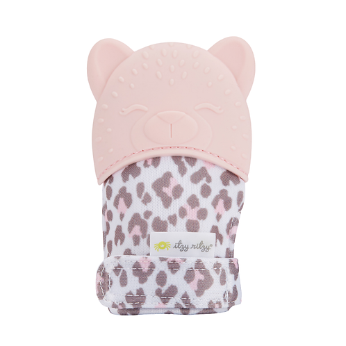 Pink Leopard Itzy Mitt - chewing mitt, teething glove, teething mitt for baby