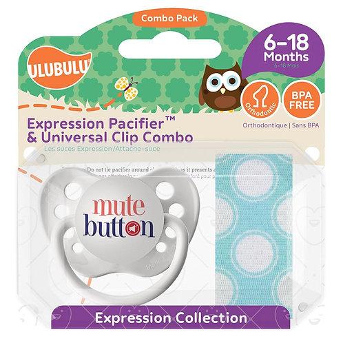 Mute Button and Blue Dot Pacifier Clip Set by Ulubulu