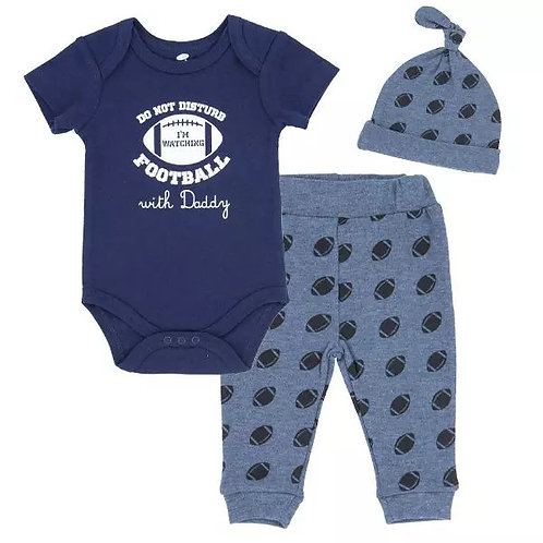 Do Not Disturb, I'm Watching Football with Daddy - 3 piece set for baby