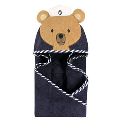 Hudson Baby Sailor Bear Animal Face Hooded Towel