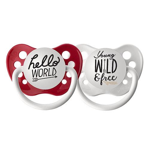 Hello World Pacifier, Young Wild & Free Pacifier, Ulubulu 2 piece set