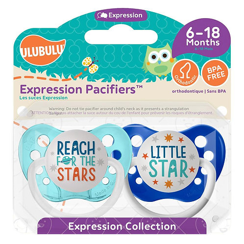 Reach for the Stars and Little Star Pacifier Set by Ulubulu