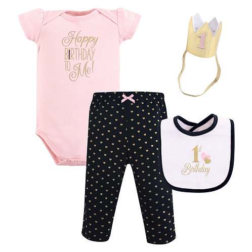 Hudson Baby First Birthday Outfit Gift Set, Baby Girl