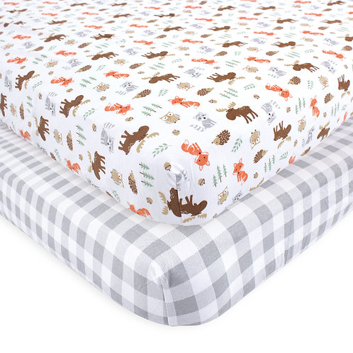 Hudson Baby Woodland Crib Sheet 2 Pack Fitted