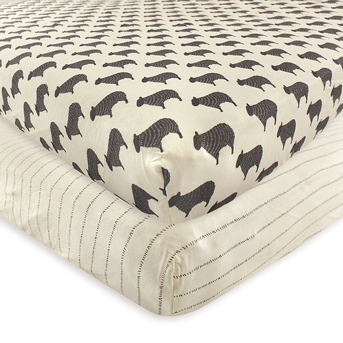 Hudson Baby Sheep Crib Sheet 2 Pack Fitted