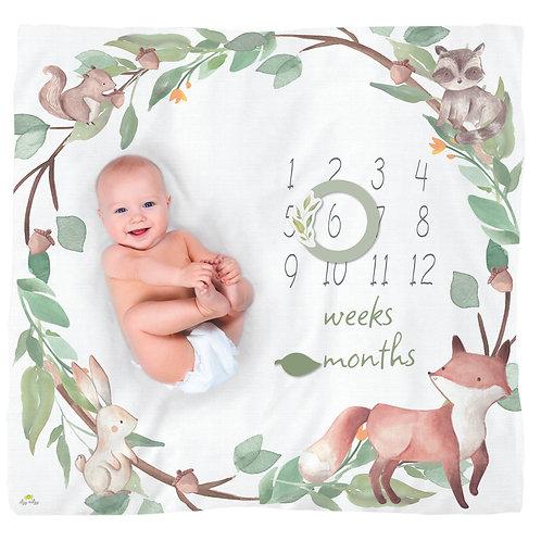 Baby laying on Cutie Captures Milestone Blanket, Blue Woodland
