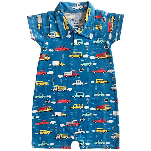 Automobiles Romper for Baby Boy, Cars and Trucks Summer Romper