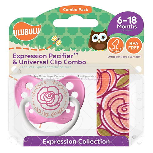 Wild Rose Pacifier and Mauve Rose Pacifier Clip Combo Set