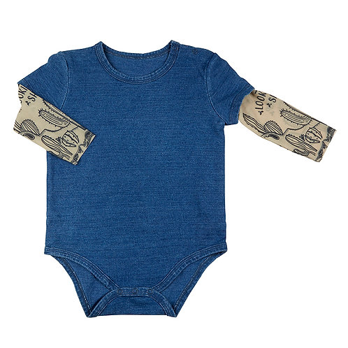 Stephan Baby Tattoo Sleeve Snapshirt - Blue Denim Western