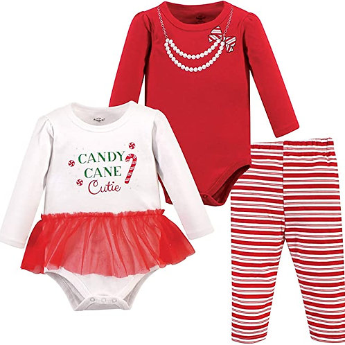 Candy Cane Cutie, 3 piece pant set for baby girl