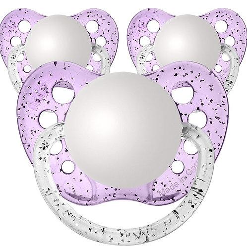 Baby Name Pacifiers - 3 Pk Glitter Purple, Ulubulu, Personalized Pacifiers