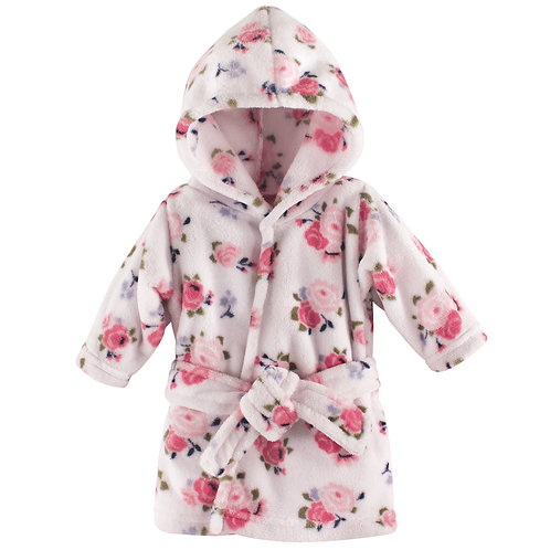 Luvable Friends Coral Fleece Hooded Robe, Pink Floral