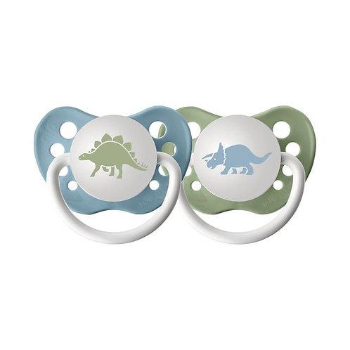 dinosaur pacifier set, blue and green by Ulubulu