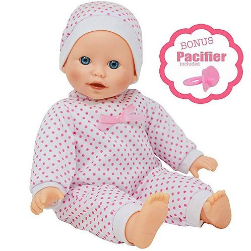 """The New York Doll Collection 14"""" Doll Polka Dots W/ Pacifier"""