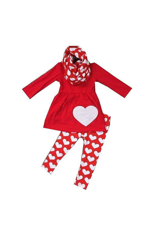 Heart 3 piece Red Valentine's Set