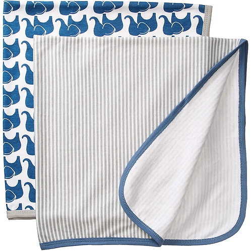 Boy Elephant 2 pack Cotton Swaddle Blankets by Hudson Baby