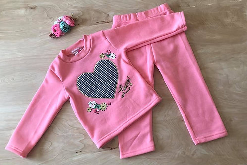 Checkered Love Heart Outfit - 2 piece - Valentine's Day Outfit, light pink