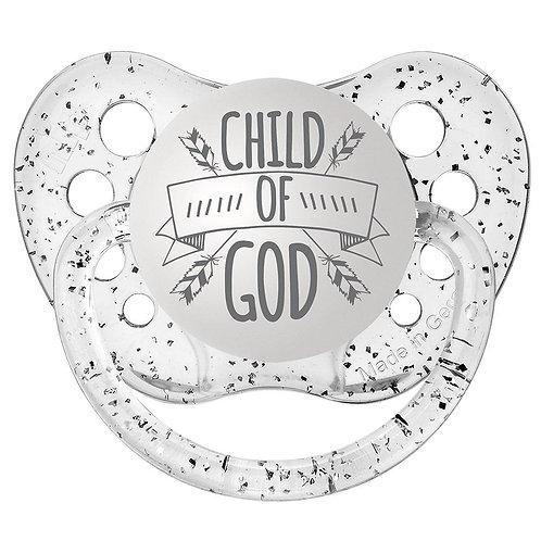 Child of God Pacifier by Ulubulu, Glitter Clear