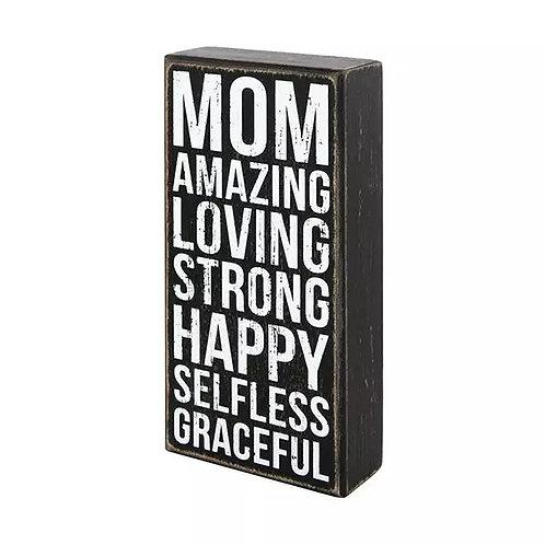 Mom Wood Box Sign - Amazing Graceful