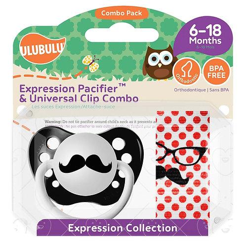 Mustache Pacifier and Clip by Ulubulu