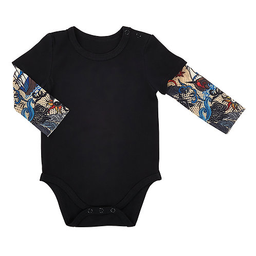 Stephan Baby Tattoo Sleeve Snapshirt for Baby - Black