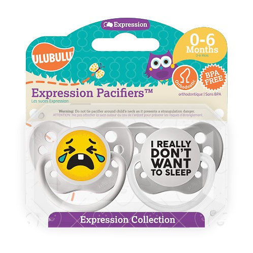 I Really Don't Want to Sleep Emoji Pacifier Set