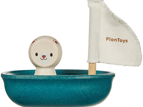 Plan Toys Sail Boat with Polar Bear