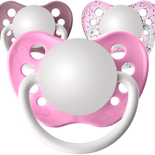 Baby name pacifiers, all pinks