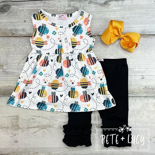 Buzz Buzz Bumblebee Print Girl's Capri Set by Pete + Lucy