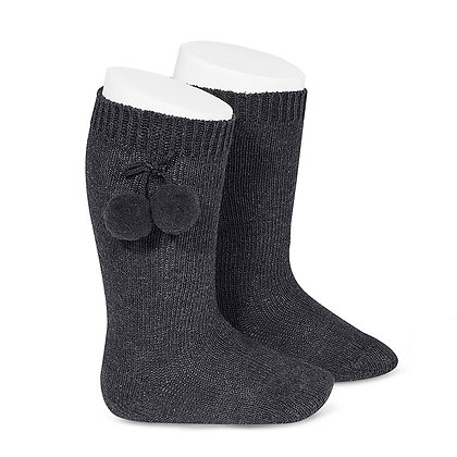Chaussette Pompons Anthracite