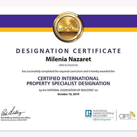 Certified International Property Specialist Designation.