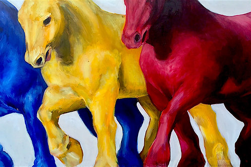 """Primary Horse Trio (reproduction print)"" Ann Marie Roselli"