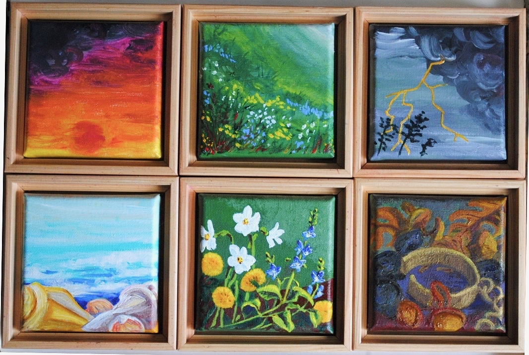 """six canvases by Linda Lynton inspired by the poem """"You"""""""