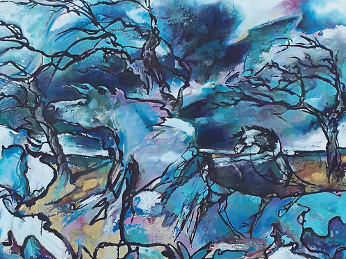 """Blue Storms Horses"" Jean Haines"