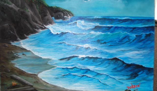 Art-Oil-Painting-Moon-Light-on-the-Surf-