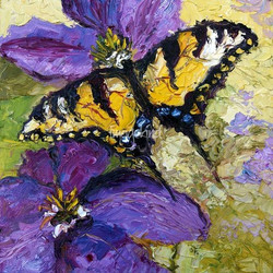 Butterflies-on-Purple-Flower-Oil-Paintin