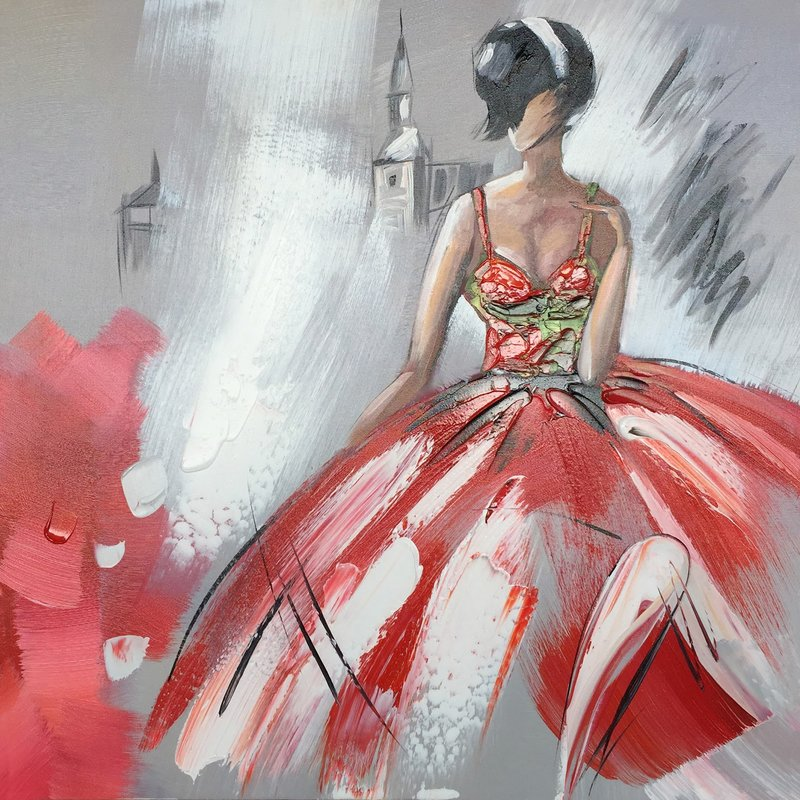 Dancing+Girl+in+Red+Dress+II'+Oil+Painti