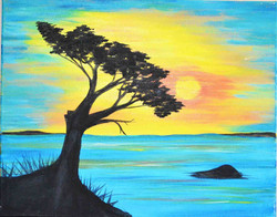 sunset-Simple-Beach-Painting-at-the-bay-