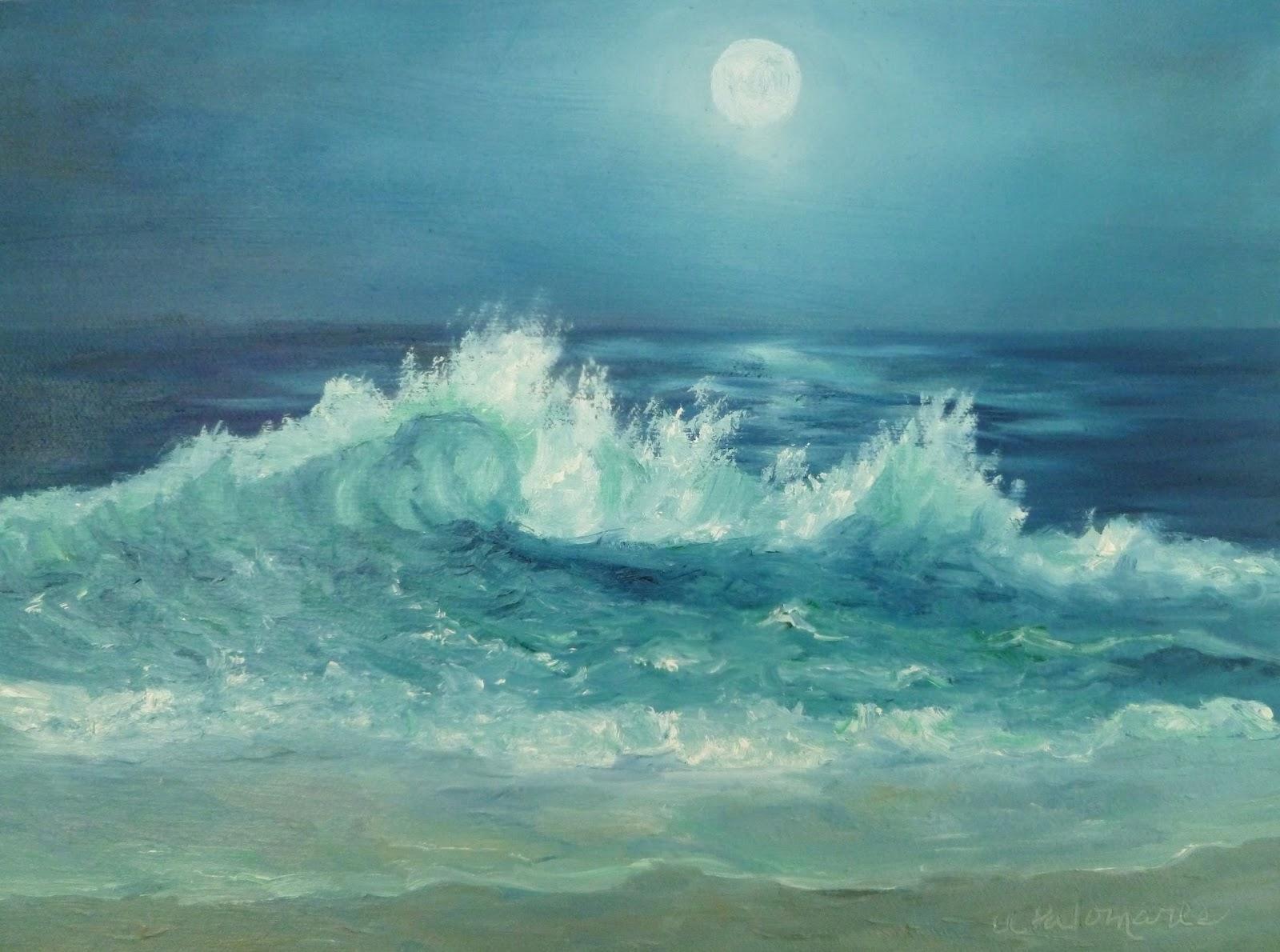 Moonlight Ocean Painting