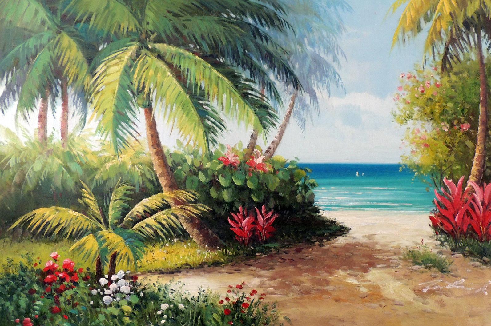 Beach-Island-Flowers-Coconut-Palm-Trees-