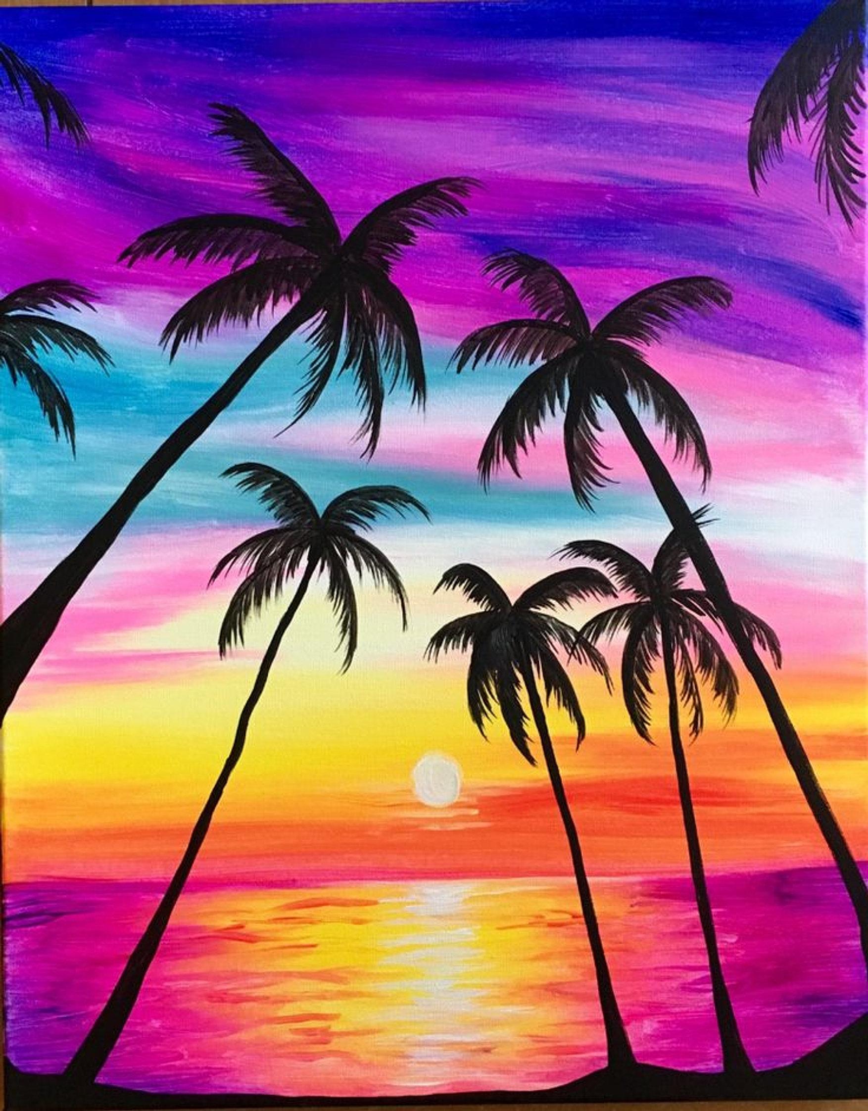 Easy Beach Paintings Top 25 Best Canvas Mediaimages Creative Studio Sip N Paint Public Event Bookings