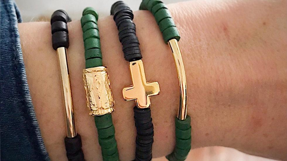 Bracelet doré tube/croix