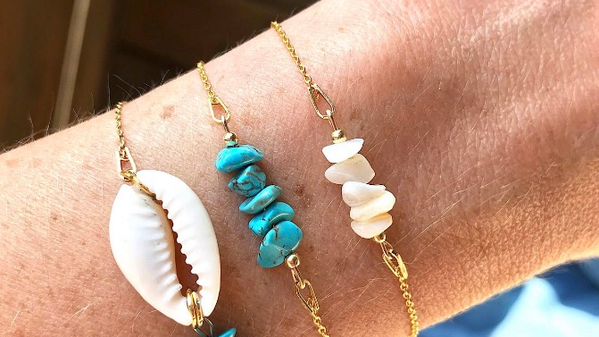 Bracelet Cauri/turquoise