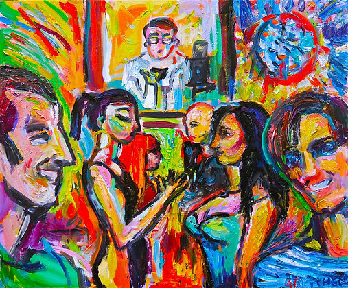 """Donna Destri and Friends"", oil on canvas"