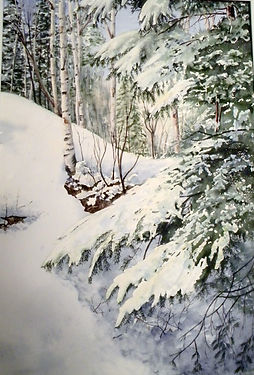 hiver, aquarelle, neige, sapin, ginette ste-croix
