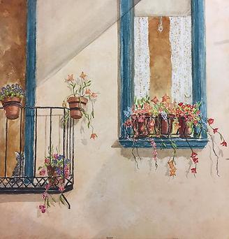 aquarelle, fenêtre, fleurs, ginette ste-croix