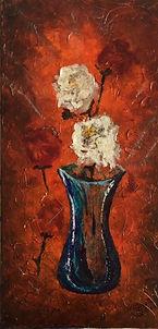 fleurs cotton acrylique rouille vase texture